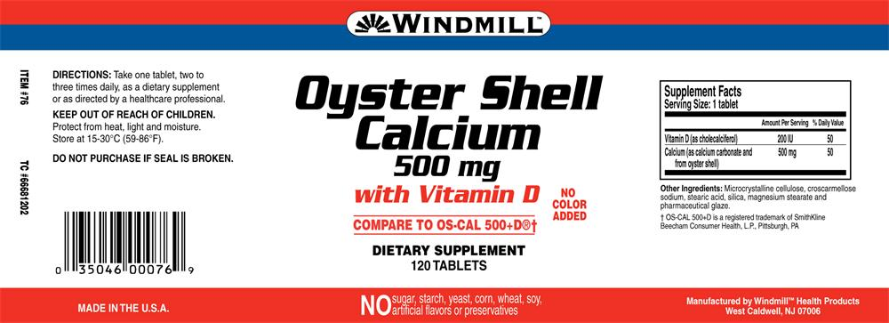 Oyster Shell Calcium Tablets Oyster Shell Calcium 500 mg