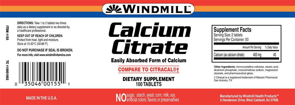 Windmill Vitamins Calcium Citrate Tablets 100 Count Tablet