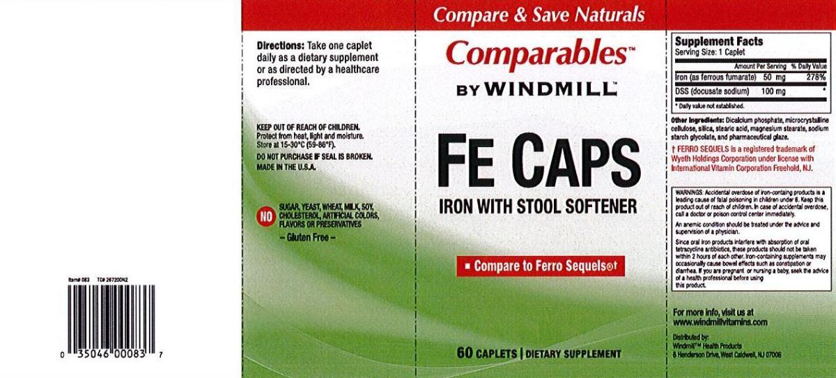 Windmill Vitamins Fe Caps With Stool Softener Caplets 60