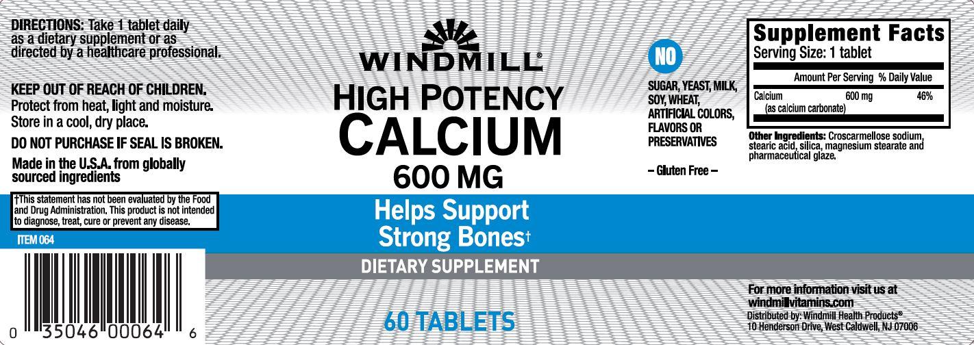 High Potency Calcium 600 Mg Windmill Vitamins