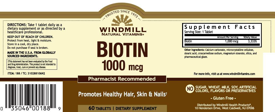 Biotin 1000 Mcg Windmill Vitamins