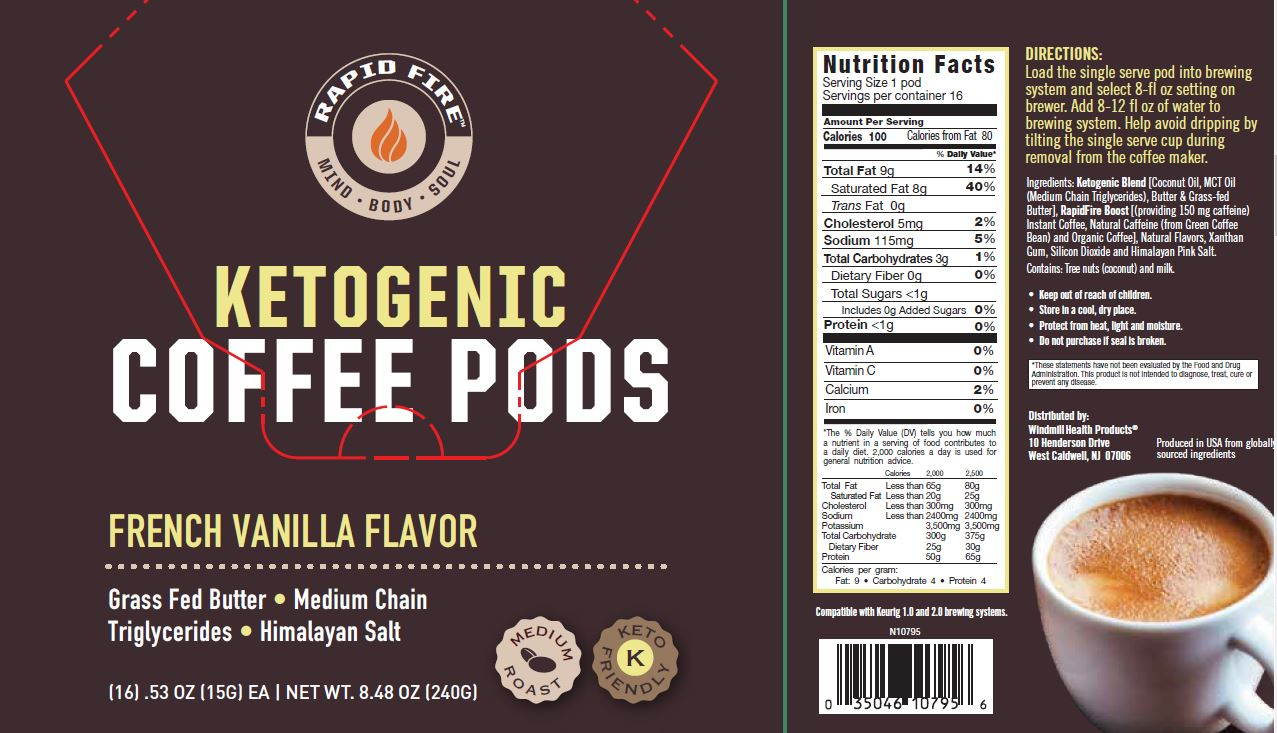 Rapid Fire Ketogenic Coffee French Vanilla Pods - Windmill Vitamins